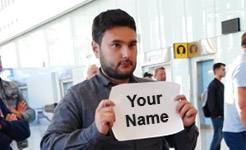 airport pick-up nameplate